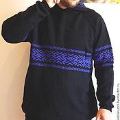 Одежда ручной работы. Ярмарка Мастеров - ручная работа свитер мужской вязаный с капюшоном славянский орнамент. Handmade.