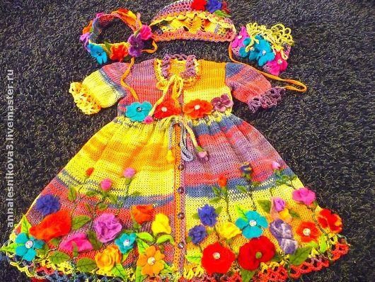 """Одежда для девочек, ручной работы. Ярмарка Мастеров - ручная работа. Купить Платье """"Цветы на радуге"""". Handmade. Платье, нарядное платье"""