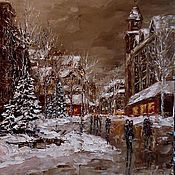 Картины и панно handmade. Livemaster - original item Oil painting Winter evening. Handmade.