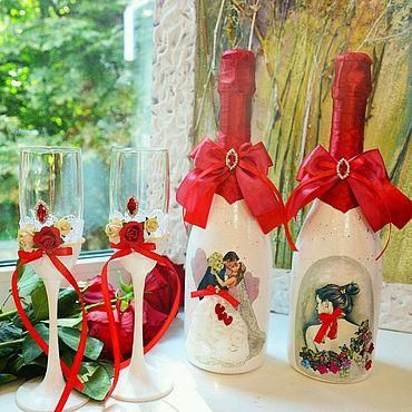Свадебный салон ручной работы. Ярмарка Мастеров - ручная работа Набор свадебных аксессуаров шампанское и бокалы. Handmade.