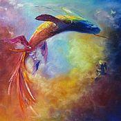 Картины и панно handmade. Livemaster - original item Oil painting - flying fish. Handmade.