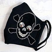 Аксессуары handmade. Livemaster - original item Mask with black rhinestones with a skull embroidery 4 layers. Handmade.
