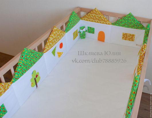 Детская ручной работы. Ярмарка Мастеров - ручная работа. Купить Бортики в кроватку. Handmade. Зеленый, бортики подушки, бортики-домики