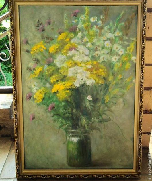 Картины цветов ручной работы. Ярмарка Мастеров - ручная работа. Купить Полевые цветы в стеклянной вазе... Handmade. Разноцветный, букет