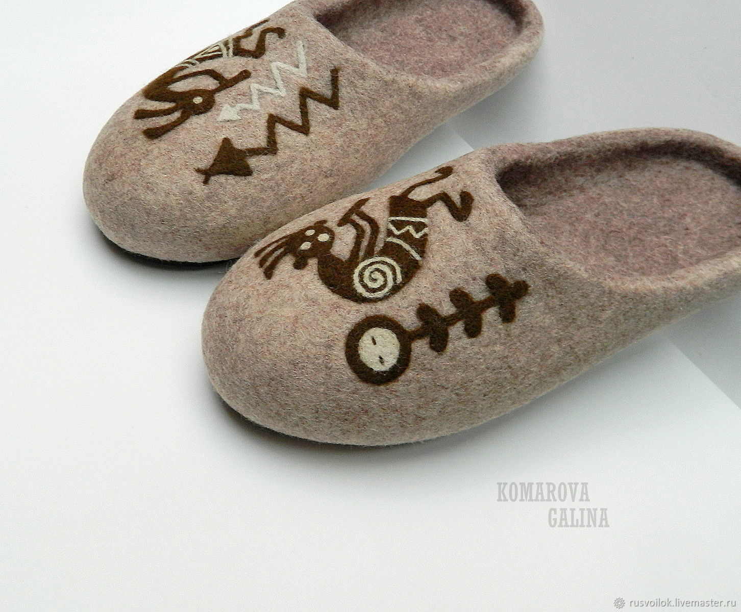 men's felted Slippers 'Ethno', Slippers, Moscow,  Фото №1
