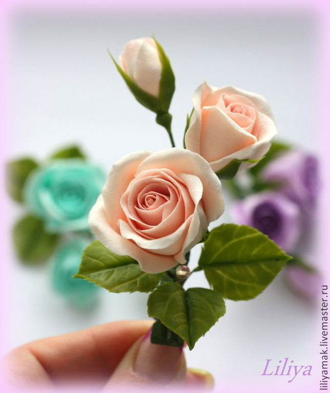 Заколки ручной работы. Ярмарка Мастеров - ручная работа. Купить Бутоны роз нежно-персикового цвета ( зажим для волос). Handmade.