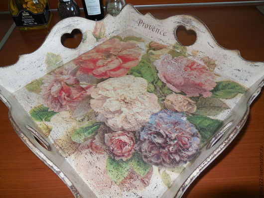"""Кухня ручной работы. Ярмарка Мастеров - ручная работа. Купить """"Розы...розы...."""" поднос. Handmade. Бежевый, подарок, мдф"""