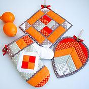 Прихватки ручной работы. Ярмарка Мастеров - ручная работа Комплект для кухни Оранжевое Настроение 2, прихватки и рукавичка. Handmade.