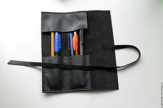 Пеналы ручной работы. Ярмарка Мастеров - ручная работа. Купить пенал для ручек и карандашей кожаный. Handmade. Черный, пенал для карандашей