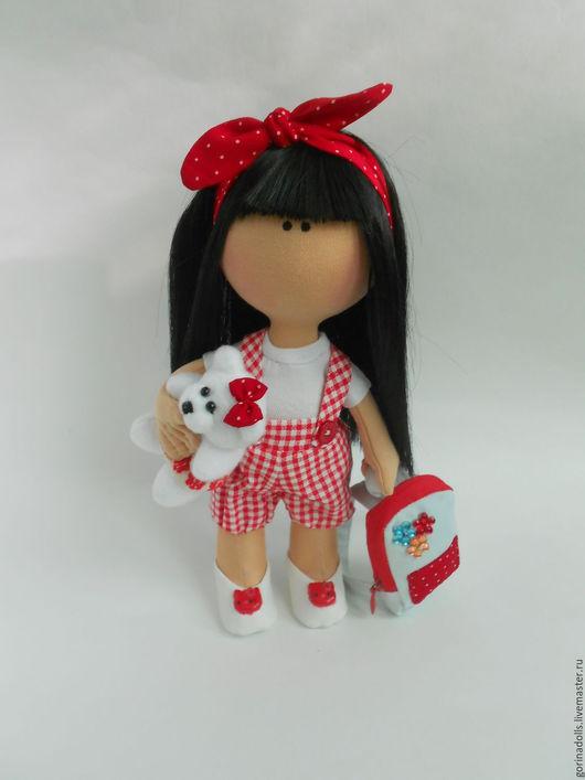 Куклы тыквоголовки ручной работы. Ярмарка Мастеров - ручная работа. Купить Текстильная кукла -малышка. Иришка. Handmade. Ярко-красный