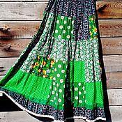 Одежда ручной работы. Ярмарка Мастеров - ручная работа Зеленое лето - ярусная юбка в стиле пэчворк из хлопка.. Handmade.
