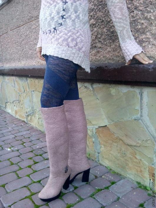 """Обувь ручной работы. Ярмарка Мастеров - ручная работа. Купить Валенки-сапоги """"Пепел роз"""". Handmade. Кремовый, сапоги зимние"""