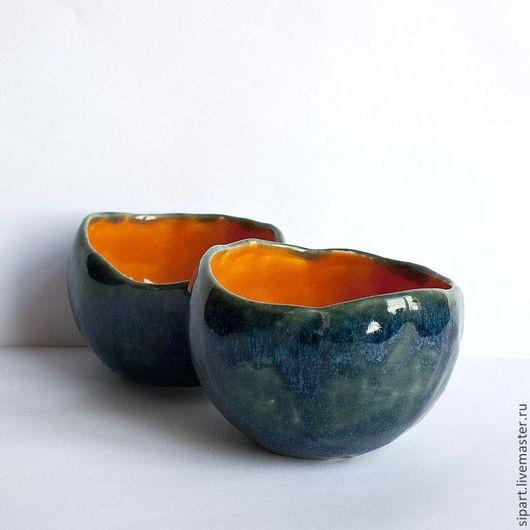 """Пиалы ручной работы. Ярмарка Мастеров - ручная работа. Купить Комплект пиал """" Оранжевый фрукт в голубой шкурке"""". Handmade."""
