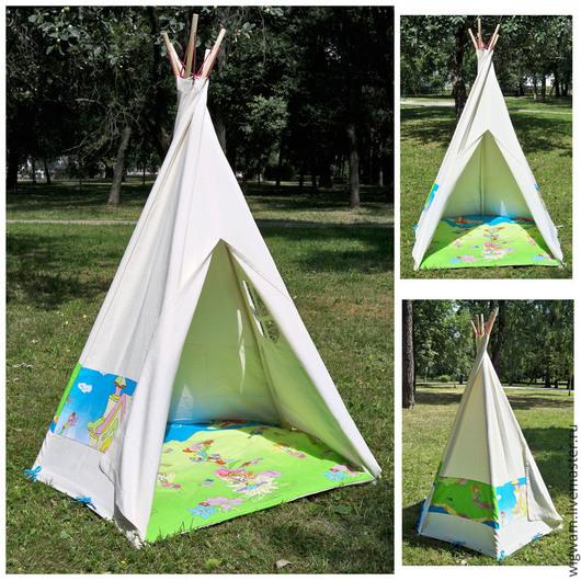 """Детская ручной работы. Ярмарка Мастеров - ручная работа. Купить Детский домик - палатка вигвам для девочек """"Цветочный город"""". Handmade."""