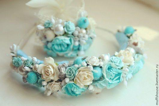 """Диадемы, обручи ручной работы. Ярмарка Мастеров - ручная работа. Купить Ободок """"Бело-голубые розы"""" + браслетик. Handmade."""