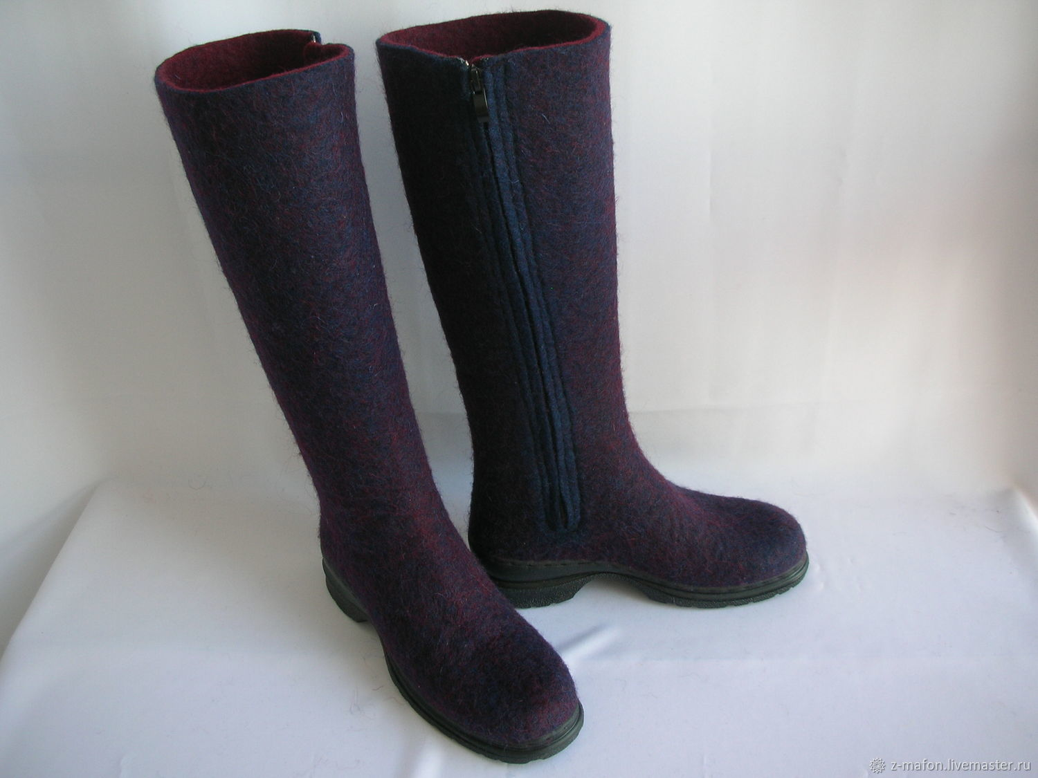 Boots boots Blue-Burgundy with zipper, High Boots, Tomsk,  Фото №1