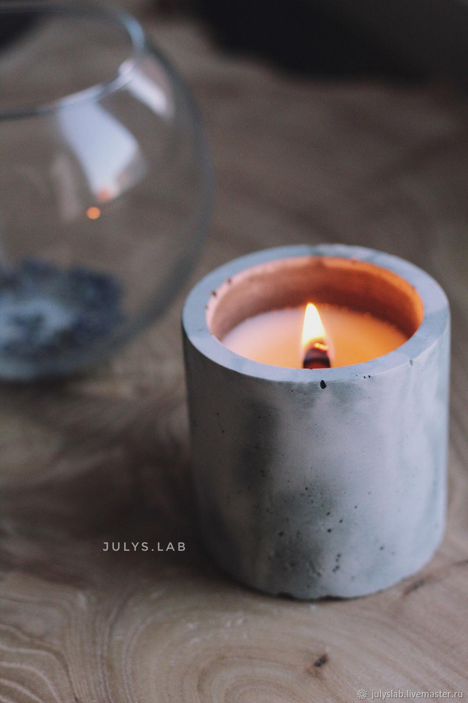Соевая свеча в бетоне с древесным фителем Цилиндр серо-пудровый, Свечи, Санкт-Петербург,  Фото №1