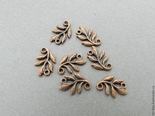 Коннектор Веточка цвет Медный, размер 14*10*1,5 мм, материал сплав металлов, не содержит свинца, никеля.  (арт. 900)