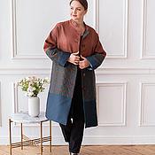Одежда handmade. Livemaster - original item Author`s light coat in terracotta and blue tones. Handmade.