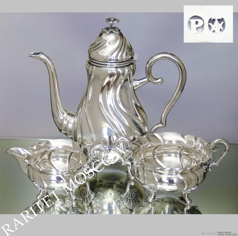 Винтажная посуда. Ярмарка Мастеров - ручная работа. Купить Винтаж: Сервиз чайник сахарница молочник серебрение 10. Handmade. Серебро