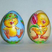 Подарки к праздникам ручной работы. Ярмарка Мастеров - ручная работа Цыплята, яйцо расписное деревянное, 7см. Handmade.