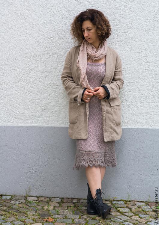 """Платья ручной работы. Ярмарка Мастеров - ручная работа. Купить Вязанное ажурное платье """"Дым"""". Handmade. Бледно-сиреневый"""