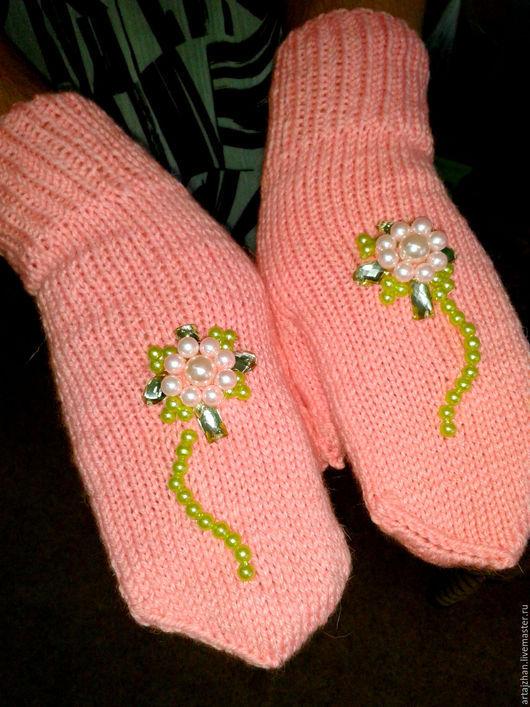 Варежки, митенки, перчатки ручной работы. Ярмарка Мастеров - ручная работа. Купить Варежки со стразами. Handmade. Розовый