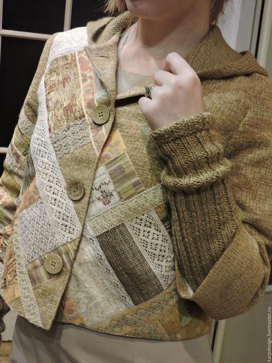 """Пиджаки, жакеты ручной работы. Ярмарка Мастеров - ручная работа. Купить Жакет """"Пэчворк"""". Handmade. Бежевый, капюшон, хлопок"""