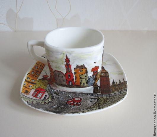 """Сервизы, чайные пары ручной работы. Ярмарка Мастеров - ручная работа. Купить Чайная пара """"Лондонские улицы"""". Handmade."""