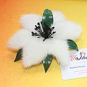 Украшения ручной работы. Ярмарка Мастеров - ручная работа Белая лилия из норки. Handmade.