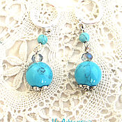 Украшения handmade. Livemaster - original item Turquoise earrings Classic. Handmade.