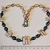 Колье ручной работы. Ярмарка Мастеров - ручная работа Ожерелье-бусы  из натурального жемчуга и жемчуга бива и. Handmade.