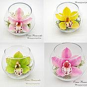 Цветы и флористика ручной работы. Ярмарка Мастеров - ручная работа Орхидеи цимбидиум в вазочке. Handmade.