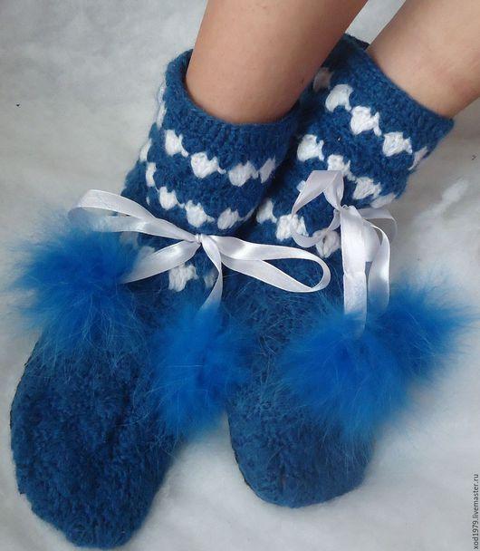 """Обувь ручной работы. Ярмарка Мастеров - ручная работа. Купить Сапожки домашние """"Небо"""". Handmade. Тёмно-синий, сапожки крючком"""