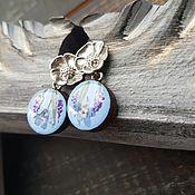 Украшения handmade. Livemaster - original item Earrings classic: with painting and real flowers. Handmade.