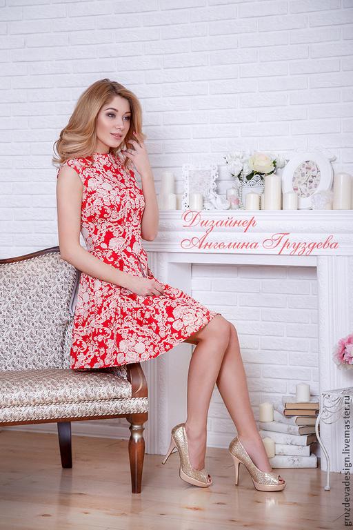 """Платья ручной работы. Ярмарка Мастеров - ручная работа. Купить """"Благородство красно-белого"""" жакардовое платье на каждый день. Handmade."""