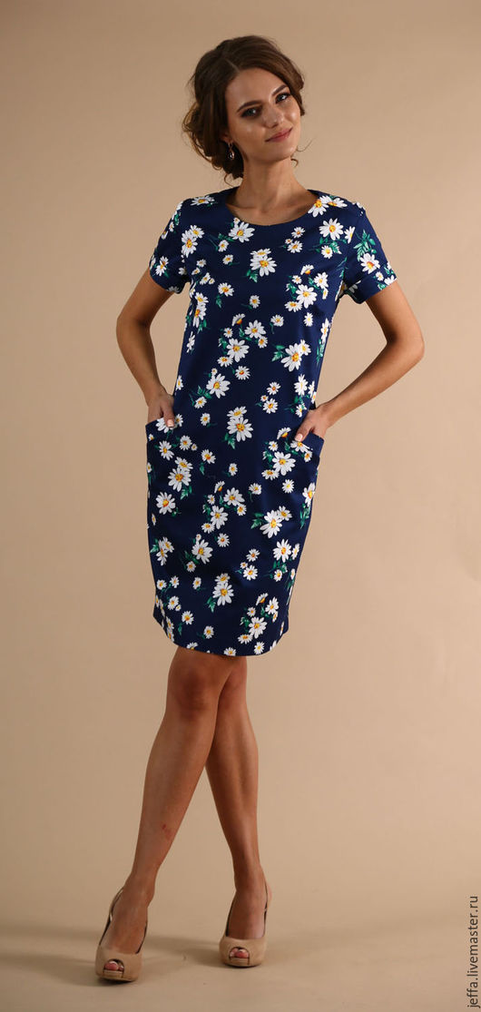 Платья ручной работы. Ярмарка Мастеров - ручная работа. Купить Платье Ромашка синяя арт.5127. Handmade. Тёмно-синий