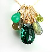 """Украшения ручной работы. Ярмарка Мастеров - ручная работа Колье """"Fiona"""" лимонные, изумрудные и зелёные камни и золото. Handmade."""