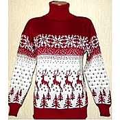 Одежда handmade. Livemaster - original item Sweater with reindeer and Norwegian knitted ornaments Forest deer. Handmade.