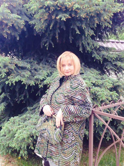 Верхняя одежда ручной работы. Ярмарка Мастеров - ручная работа. Купить Пальто из павлопосадского платка испанский в технике синель. Handmade.