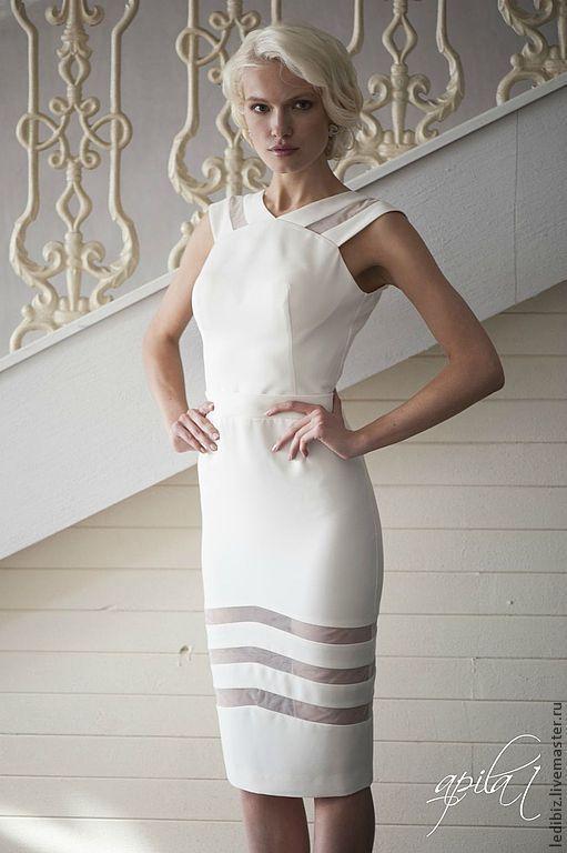 Одежда и аксессуары ручной работы. Ярмарка Мастеров - ручная работа. Купить Короткое свадебное  платье L-4. Handmade. Белый