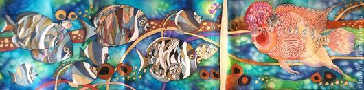 Диптих ` Все мы рыбки разные`, холодный Батик , натуральный шелк-атлас.