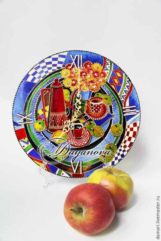 """Часы для дома ручной работы. Ярмарка Мастеров - ручная работа. Купить Часы """"Завтрак на даче"""". Handmade. Разноцветный, дача"""