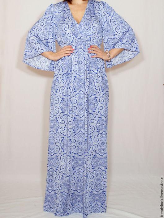 Платья ручной работы. Ярмарка Мастеров - ручная работа. Купить Длинное платье,бело-голубое платье кимоно,платье в пол. Handmade.