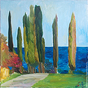 Картины и панно handmade. Livemaster - original item Picture. Abkhazia. Cypress trees in the evening. Handmade.