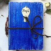 Канцелярские товары ручной работы. Ярмарка Мастеров - ручная работа Синий Блокнот для самых светлых мыслей. Handmade.
