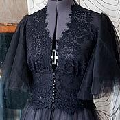 Одежда ручной работы. Ярмарка Мастеров - ручная работа Черное будуарное платье. Handmade.