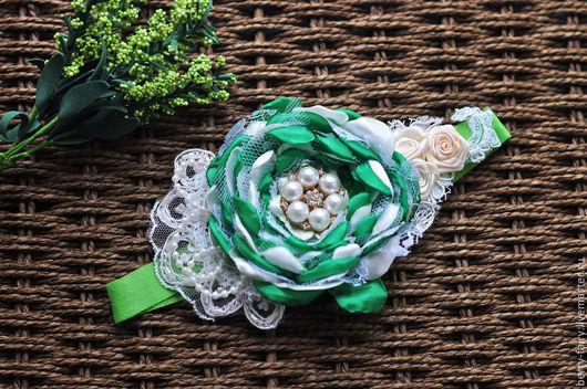 Детская бижутерия ручной работы. Ярмарка Мастеров - ручная работа. Купить Кружевная повязка зеленая. Handmade. Зеленый, фотосессия