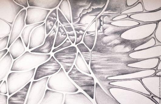 """Абстракция ручной работы. Ярмарка Мастеров - ручная работа. Купить картина """"Зов"""". Handmade. Луна, лунный свет, свет"""