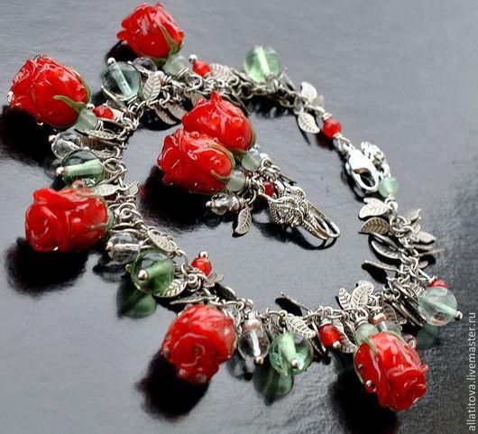 """Браслеты ручной работы. Ярмарка Мастеров - ручная работа. Купить Браслет и серьги """" Lady in red"""" авторский лэмпворк, флюорит, серебро. Handmade."""